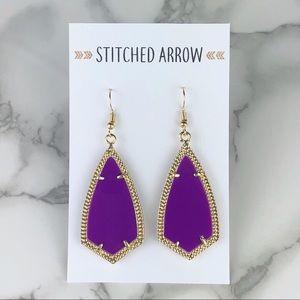 Jewelry - 2 for $16 Gold Purple Kite Metal Drop Earrings